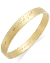 "Kate Spade | Metallic Gold-tone ""happily Ever After"" Bridal Idiom Bangle Bracelet 