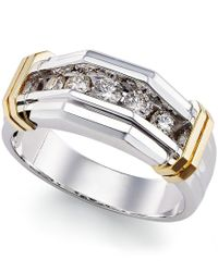 Macy's | Metallic Men's Diamond (1/2 Ct. T.w.) Ring In 10k White Gold And Yellow Gold | Lyst