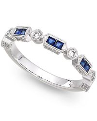 Macy's | 14k White Gold Sapphire (1/3 Ct. T.w.) And Diamond (1/5 Ct. T.w.) Alternating Ring | Lyst