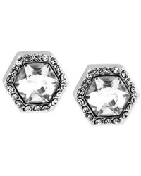 Vince Camuto - Metallic Silver-tone Crystal Hexagon Stud Earrings - Lyst