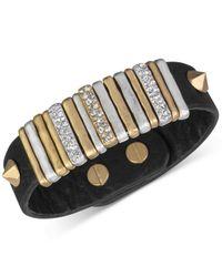 The Sak - Metallic Gold-tone Black Leather Slider Accent And Stud Bracelet - Lyst