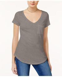 Maison Jules - Gray Short-sleeve V-neck Tee - Lyst