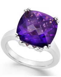 Macy's | Purple Amethyst Cocktail Ring In Sterling Silver (7 Ct. T.w.) | Lyst
