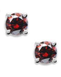 Macy's | 10k White Gold Red Diamond Round Stud Earrings (1/5 Ct. T.w.) | Lyst
