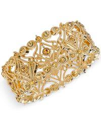 2028 | Metallic Gold-tone Imitation Topaz Filigree Stretch Bracelet | Lyst