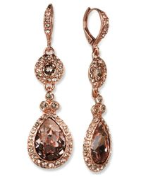 Givenchy - Pink Rose Gold-tone Swarovski Element Double Drop Earring - Lyst