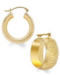Macy's   Metallic Signature Gold Diamond-cut Small Hoop Earrings In 14k Gold   Lyst