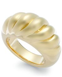 Signature Gold | Metallic Ribbed Dome Ring In 14k Gold | Lyst