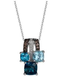 Le Vian - Blue Topaz (2 Ct. T.w.) And Diamond Accent (1/10 Ct. T.w.) Pendant Necklace In 14k White Gold - Lyst