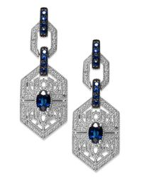 Macy's | Metallic Sterling Silver Sapphire (1-3/8 Ct. T.w.) And Diamond (1/10 Ct. T.w.) Antique Drop Earrings | Lyst