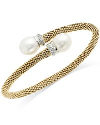 Macy's   Metallic Cultured Freshwater Pearl And Cubic Zirconia Mesh Cuff Bracelet In 14k Gold Over Sterling Silver (10mm)   Lyst