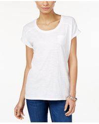 Style & Co. | White Pocket T-shirt, Only At Macy's | Lyst