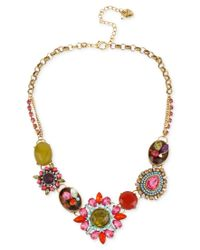 Betsey Johnson | Red Gold-tone Multi-color Crystal Pendant Frontal Necklace | Lyst