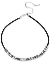 Kenneth Cole - Multicolor Silver-tone Leather Seed Bead Frontal Necklace - Lyst