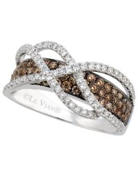 Le Vian   Metallic Chocolate And White Diamond Crossover Ring In 14k White Gold (1-1/10 Ct. T.w.)   Lyst
