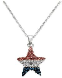 Macy's - Multicolor Diamond Flag Star Pendant Necklace In Sterling Silver (1/4 Ct. T.w.) - Lyst