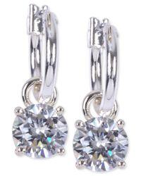 Anne Klein | Metallic Silver-tone Crystal Drop Hoop Earrings | Lyst