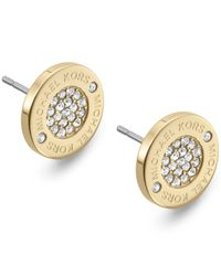 Michael Kors | Metallic Gold-tone Crystal Pave Logo Stud Earrings | Lyst