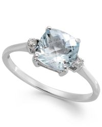 Macy's | Multicolor Aquamarine (1-1/3 Ct. T.w.) And Diamond Accent Ring In 14k White Gold | Lyst