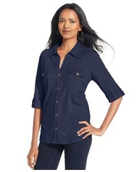 Style & Co. | Blue Petite Jersey Utility Shirt, Only At Macy's | Lyst