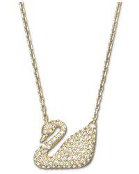 Swarovski | Metallic Crystal Swan Pendant Necklace | Lyst