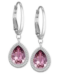 Swarovski | Rhodium-plated Pink Crystal Drop Earrings | Lyst
