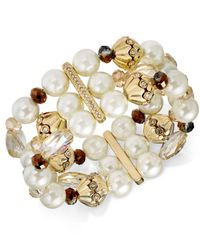 Charter Club - Metallic Gold-tone Imitation Pearl & Crystal Stretch Bracelet - Lyst