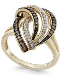Macy's | Natural Wrapped In Love Brown (1/5 Ct. T.w.) And White Diamond (1/8 Ct. T.w.) Swirl Ring In 14k Gold | Lyst