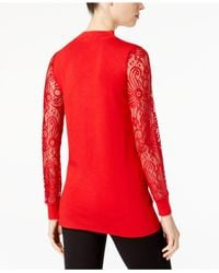INC International Concepts - Red Lace-sleeve Sweater Tunic, Created For Macy's - Lyst