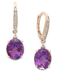 Macy's | Purple Amethyst (4-1/10 Ct. T.w.) And Diamond Accent Oval Drop Earrings In 14k Rose Gold | Lyst