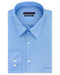 Geoffrey Beene | Blue Big And Tall Classic-fit Wrinkle-free Sateen Solid Dress Shirt for Men | Lyst