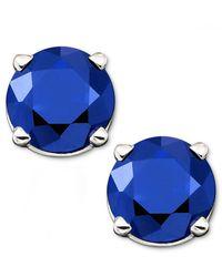 Macy's   Blue Sapphire Stud Earrings In 14k Gold (1 Ct. T.w.)   Lyst