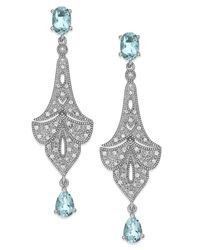 Macy's | Multicolor Aquamarine (1-3/8 Ct. T.w.) And Diamond (1/8 Ct. T.w.) Chandelier Earrings In Sterling Silver | Lyst