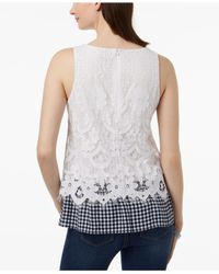 Charter Club - White Gingham-hem Lace Top, Created For Macy's - Lyst