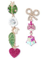 Betsey Johnson - Multicolor Multi-tone Crystal & Imitation Pearl Garden Mismatch Earrings - Lyst