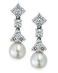 Arabella   Metallic Cultured Freshwater Pearl (7mm) And Swarovski Zirconia (1-5/8 Ct. T.w.) Drop Earrings In Sterling Silver   Lyst