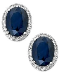 Macy's - Blue Sapphire And White Sapphire Oval Stud Earrings In 10k White Gold (3 Ct. T.w.) - Lyst