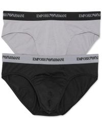 Emporio Armani | Black Men's Stretch-cotton Briefs 2-pack for Men | Lyst