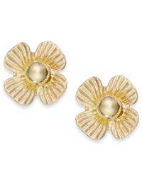 Macy's - Metallic Clover Stud Earrings In 10k Gold - Lyst