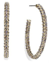 INC International Concepts   Metallic Gold-tone Pave Encrusted Hoop Earrings   Lyst