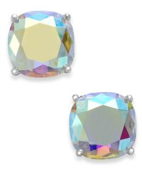 kate spade new york | Metallic Silver-tone Faceted Abalone Square Stud Earrings | Lyst
