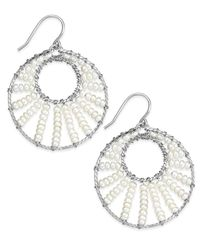 Macy's - Metallic Cultured Freshwater Pearl Circle Drop Earrings In Sterling Silver (3mm) - Lyst