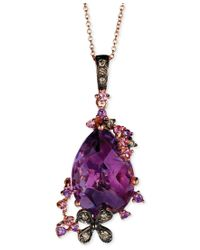 Le Vian | Purple Multi-stone (5-3/8 Ct. T.w.) And Chocolate Diamond (1/10 Ct. T.w.) Pendant Necklace In 14k Rose Gold | Lyst