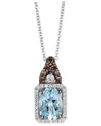 Le Vian   Aquamarine (1 Ct. T.w.) And Diamond (1/5 Ct. T.w.) Square Pendant Necklace In 14k White Gold   Lyst