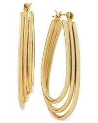Hint Of Gold | Metallic Three-row Teardrop Hoop Earrings In 14k Gold-plated Metal, 35mm X 25mm | Lyst