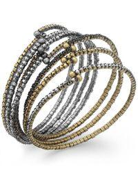 ABS By Allen Schwartz - Metallic Tri-tone Crystal Stretch Bracelet Set - Lyst