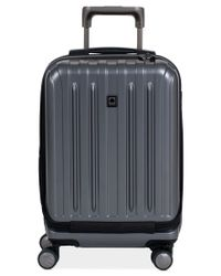 "Delsey | Gray Closeout! Helium Titanium 19"" International Carry On Expandable Hardside Spinner Suitcase for Men 