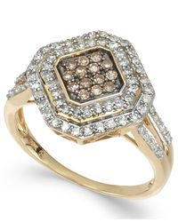 Wrapped in Love - Metallic White And Brown Diamond Ring In 14k Gold (1/2 Ct. T.w.) - Lyst