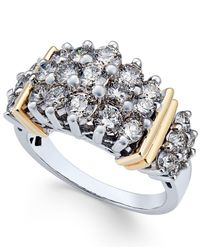 Macy's - Metallic Diamond Cluster Ring (2 Ct. T.w.) In 14k Two-tone Gold - Lyst