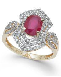 Macy's - Metallic Ruby (1-3/8 Ct. T.w.) And Diamond (1/2 Ct. T.w.) Ring In 14k Gold - Lyst